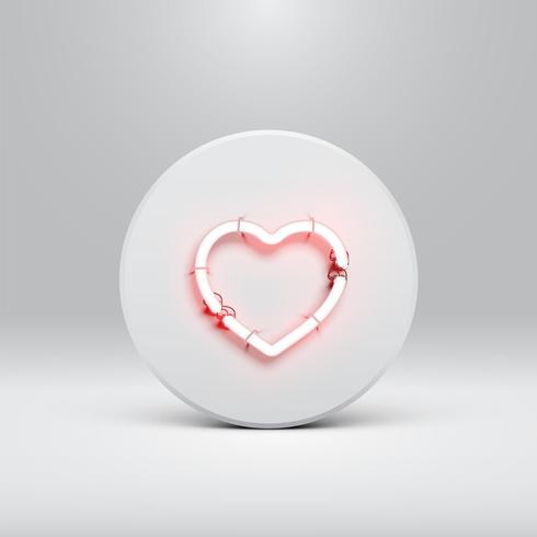 High detailed neon heart on a disc, vector illustration