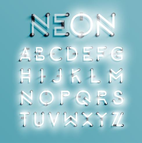 Set di caratteri al neon realistico, illustrazione vettoriale