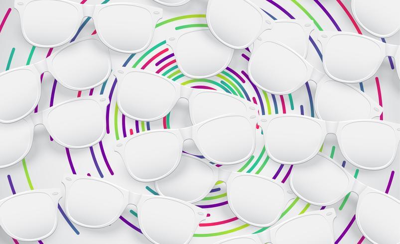 White matte sunglasses for advertisng, vector illustration