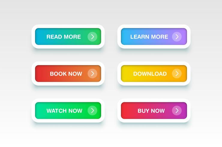 Botones limpios de colores para sitios web, ilustración vectorial