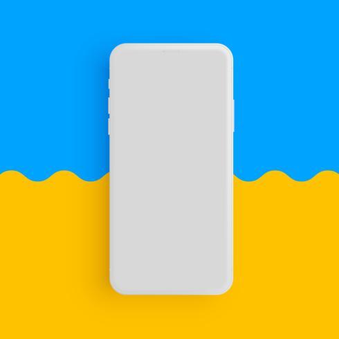 Realistische matte grijze telefoon met kleurrijke achtergrond, vectorillustratie