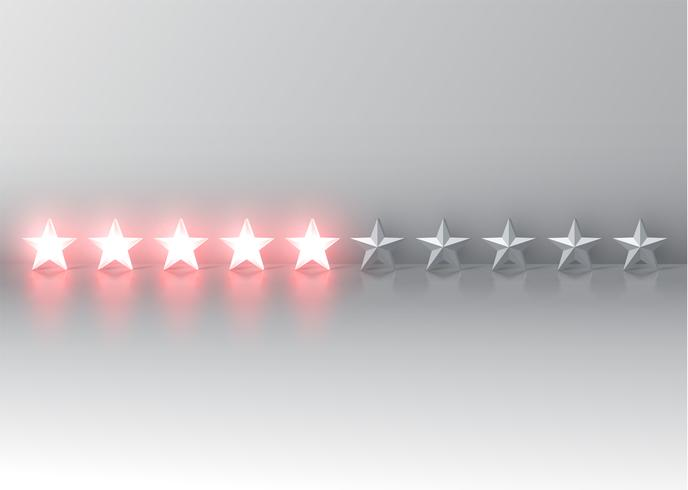 Glowing red 3D star rating, vector illustartion