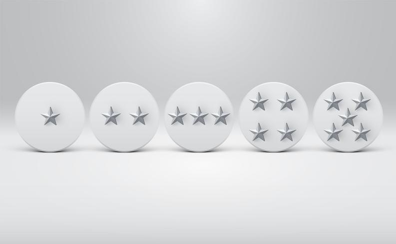Hoog gedetailleerde star-rating knoppen, vector illustratie