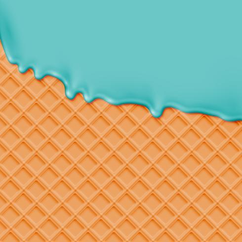 Realistisk våffla med smältande is, vektor illustration