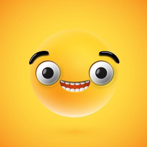 Emoticon feliz altamente detalhado, ilustração vetorial
