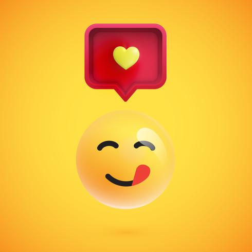Funny 3D emoticon with 3D speech bubble and a heart, vector illustration