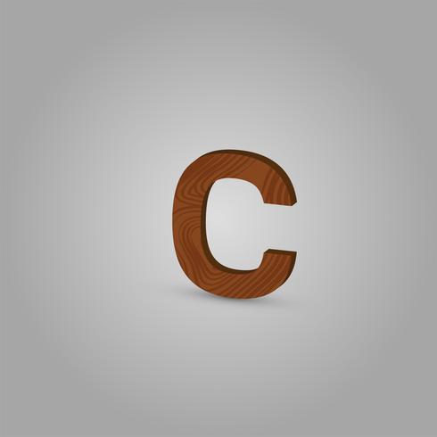 Caractère de bois réaliste d'un typographe, illustration vectorielle