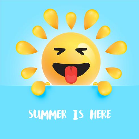 """Funny sun-smiley with the title """" """"summer is here"""", vector illustration"""