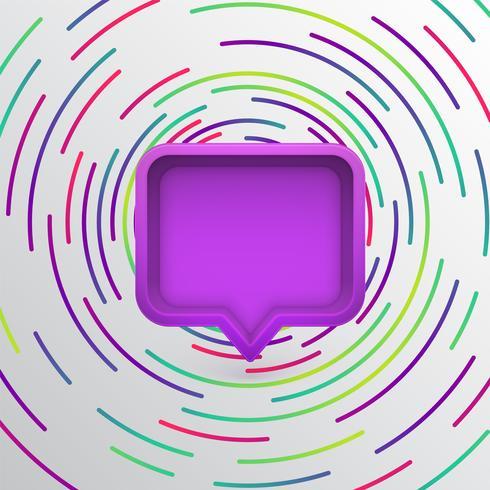 Bolha do discurso 3D realista com círculos coloridos, ilustração vetorial