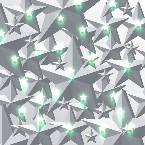 Fundo de estrelas verdes cinza e brilhante, ilustração vetorial