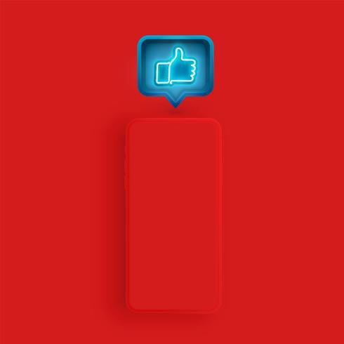 Modelo de smartphone fosco com uma bolha do discurso e um néon como dentro, ilustração vetorial