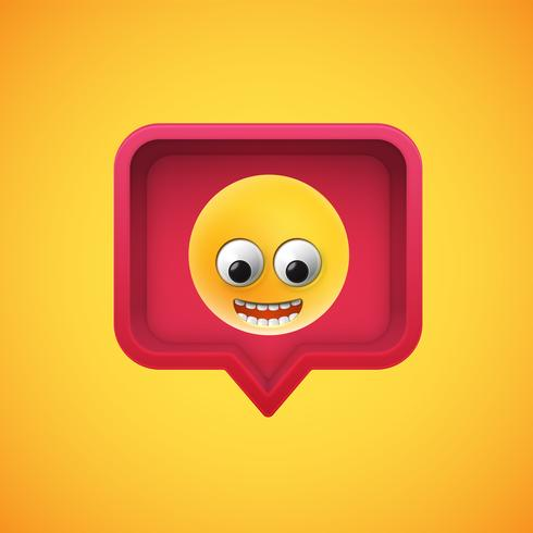 Realistic 3D emoticon in a 3D speech bubble, vector illustration
