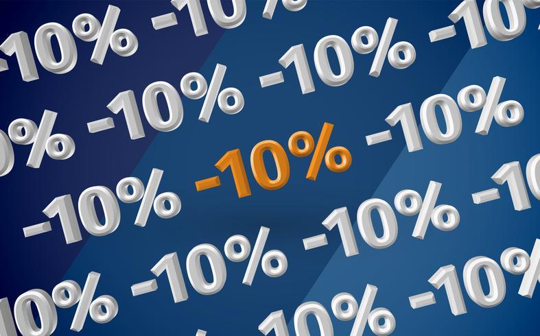 Ilustración de venta 3D con porcentaje, vector