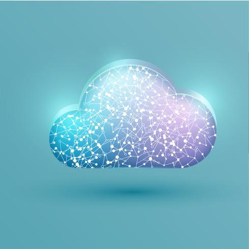 Ícone de nuvem colorida com conexões, ilustração vetorial vetor