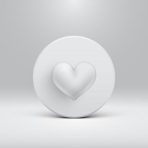 High detailed 3D heart on a disc, vector illustartion