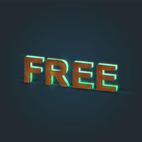'FREE' - ilustração realista de uma palavra feita por madeira e vidro brilhante, vetor