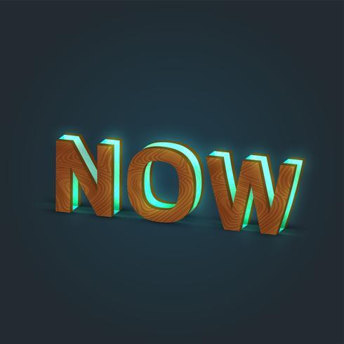 'NOW' - ilustração realista de uma palavra feita por madeira e vidro brilhante, vetor