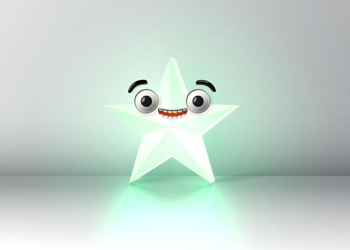 High detailed smiley star, vector illustration