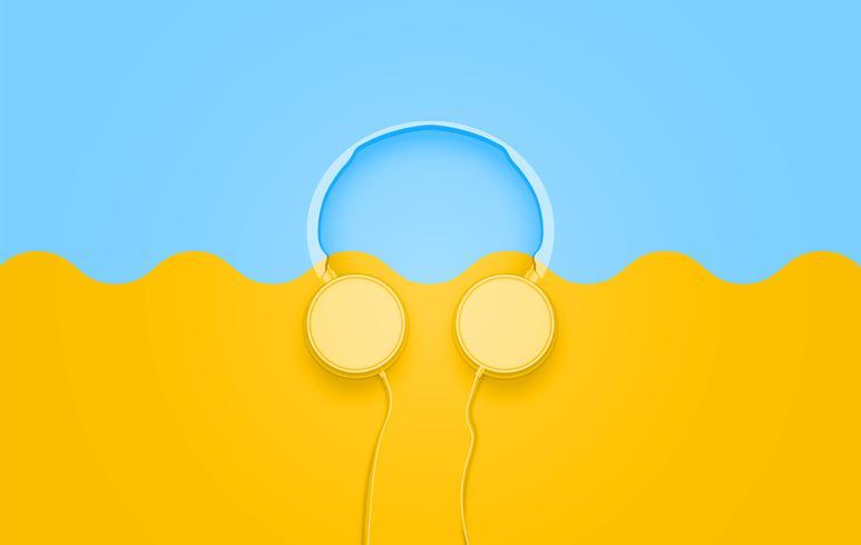 Realistiska 3D delade pastellfärgade hörlurar med ledningar vektor