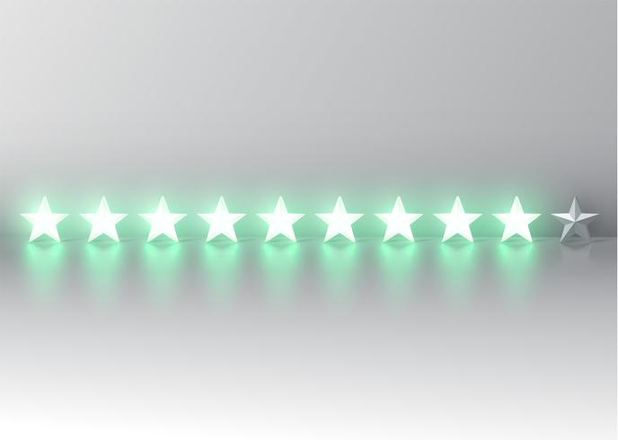 Glowing green 3D star rating, vector illustartion