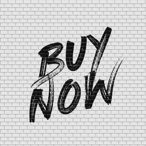 Parede de tijolo alta detalhadas com ilustração em vetor pintura 'Compre agora'