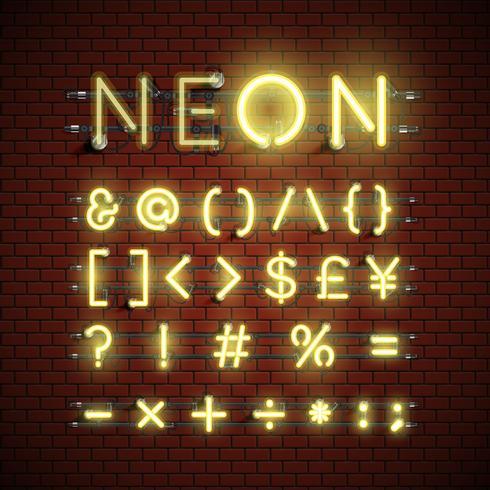 Hög detaljerad neon typsnitt set, vektor illustration