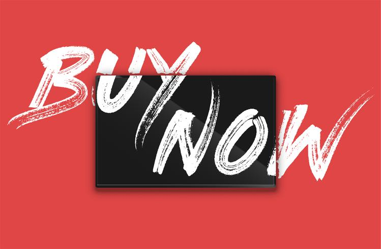 High-detailed notebook with painted 'BUY NOW' on the screen, vector illustration