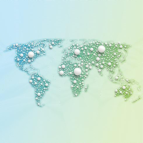 Carte du monde coloré faite de boules et de lignes, illustration vectorielle