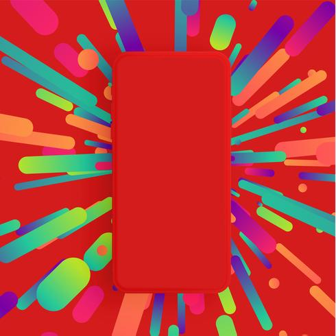 Realistic matte smartphone with colorful background, vector illustration