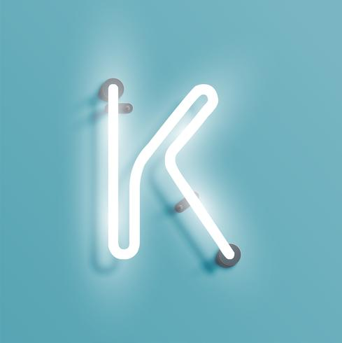 Realistic neon character from a fontset, vector illustration