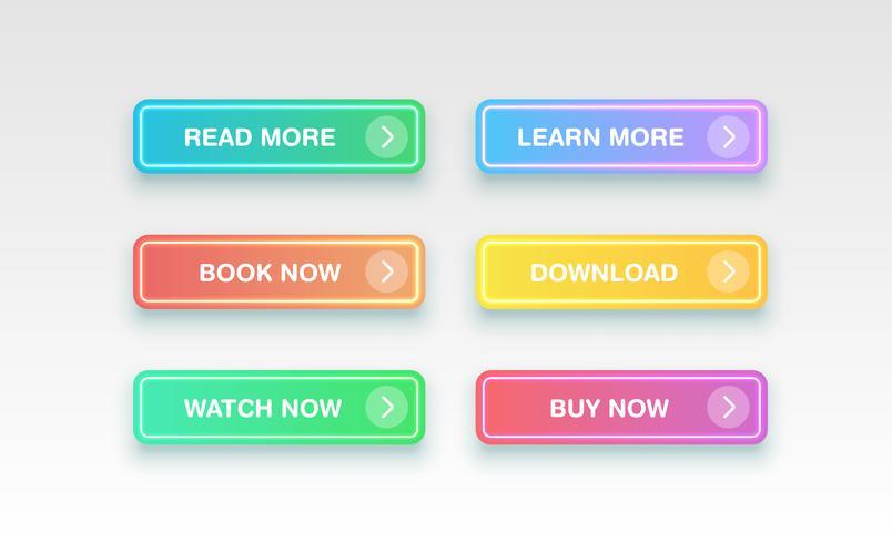 Botões limpos coloridos para sites, ilustração vetorial