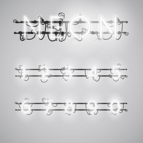 Fuente de neón realista con cables y consola, ilustración vectorial