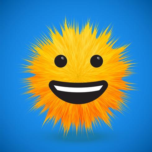 Émoticône smiley de fourrure 3D de haute précision, illustration vectorielle