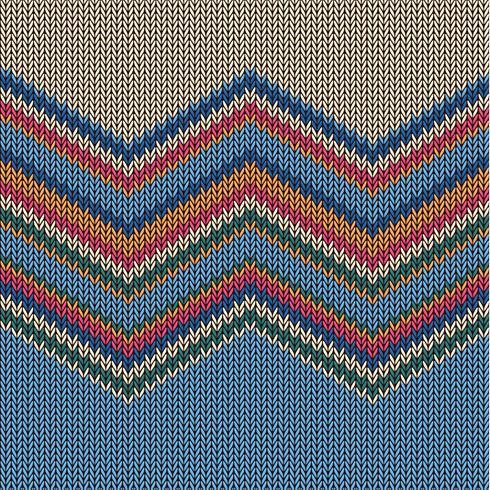 Zigzag kleurrijk gebreid patroon voor achtergrond, vectorillustratie vector