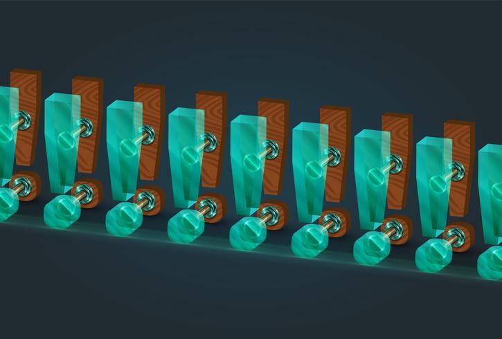 Caractères de point d'exclamation bois et verre très détaillés, illustration vectorielle