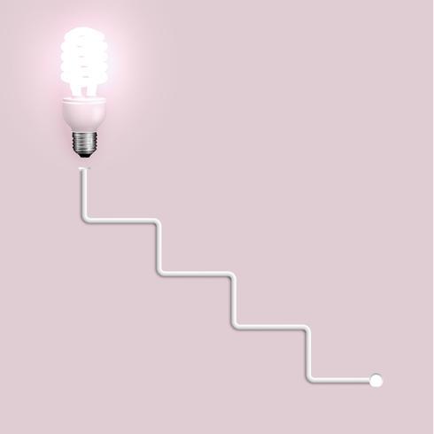 Ampoule à économie d'énergie avec fils, illustration vectorielle vecteur