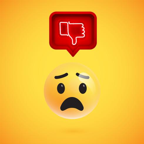 Realistic 3D emoticon with neon glowing dislike sign vector