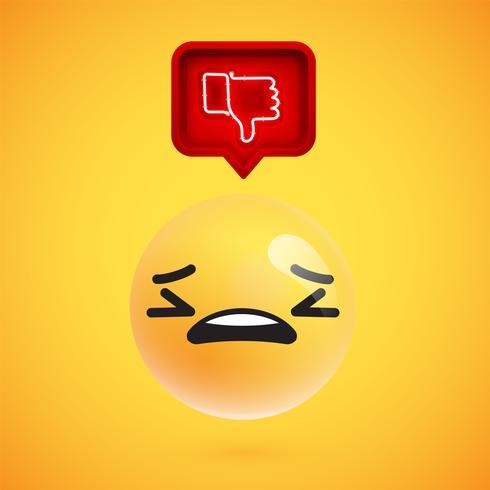 Emoticon realista en 3D con neón resplandeciente que no le gusta firmar en un bocadillo de diálogo en 3D, ilustración vectorial