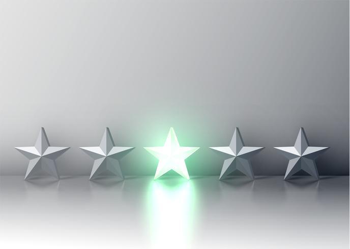 Calificación de estrellas 3D verde brillante, ilustración vectorial vector