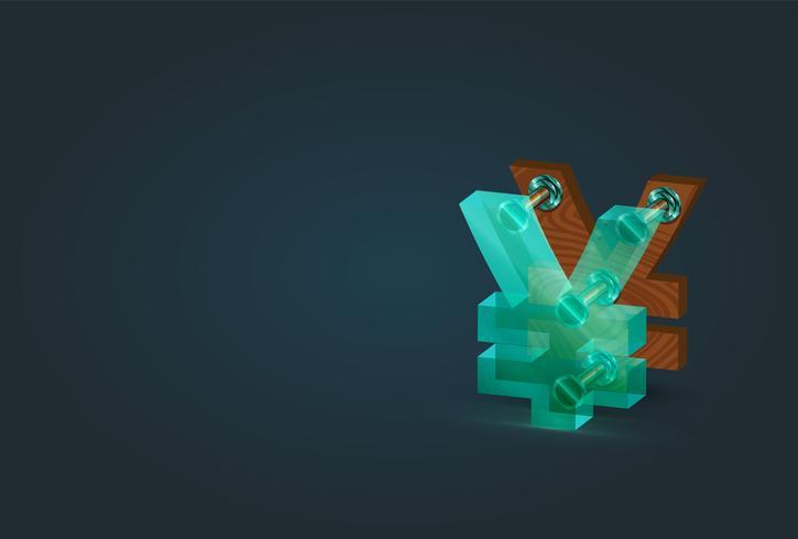 Hög detaljerad trä och glas yen / yuan karaktär, vektor illustration