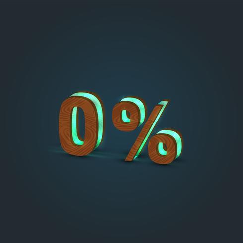 '0%' - Realistische Darstellung eines Wortes, gemacht durch Holz und glühendes Glas, Vektor