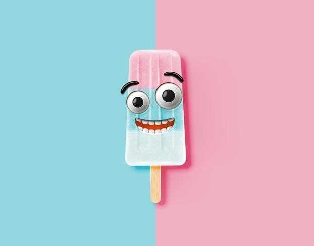 Emoticon divertido en la ilustración de helado realista, ilustración vectorial