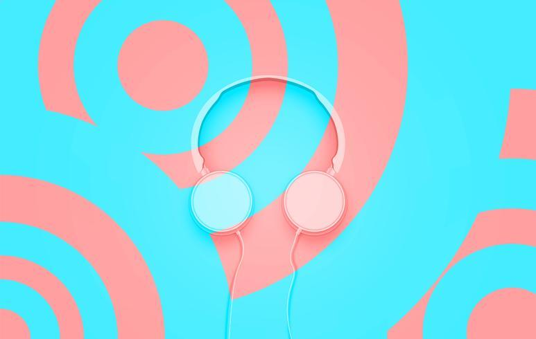 Realistische 3D verdeeld pastel cirkel gekleurde koptelefoon met draden