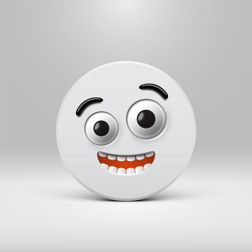 Smiley detalhado alta em um disco cinza, ilustração vetorial