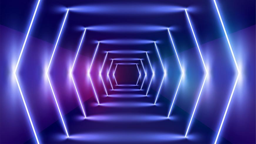 Hoog-gedetailleerde neonlichtachtergrond, vectorillustratie