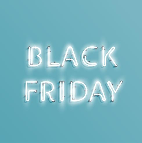 Realistic neon 'BLACK FRIDAY' sign, vector illustration