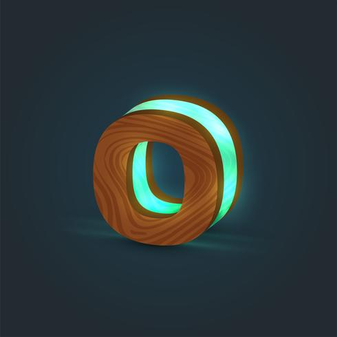 3D, realistisk, glas och trä karaktär från en typsnitt, vektor
