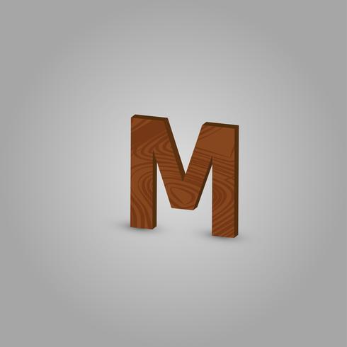 Caráter de madeira realista de um typeset, ilustração vetorial vetor