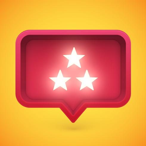 Glowing rating stars in speech bubble, vector illustration