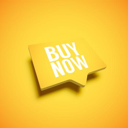 Bulle jaune très détaillée avec le titre «ACHETER MAINTENANT», illustration vectorielle